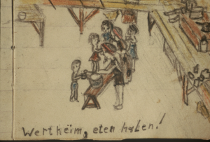 Stand in line for food with your little bowl (Drawing made in the camp by Marijke and Anne-Ruth Wertheim)