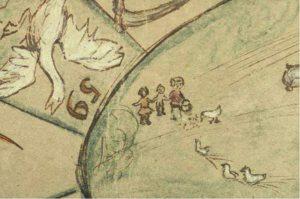 De gemene gans staat symbool voor de Japanners, de eenden staan symbool voor de onderdrukte Nederlanders en Indonesiërs