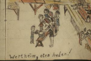 Met je pannetje langsgaan om eten te halen. Tekening in het kamp gemaakt door Marijke en Anne-Ruth Wertheim
