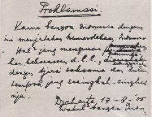 De tekst van de Proclamatie